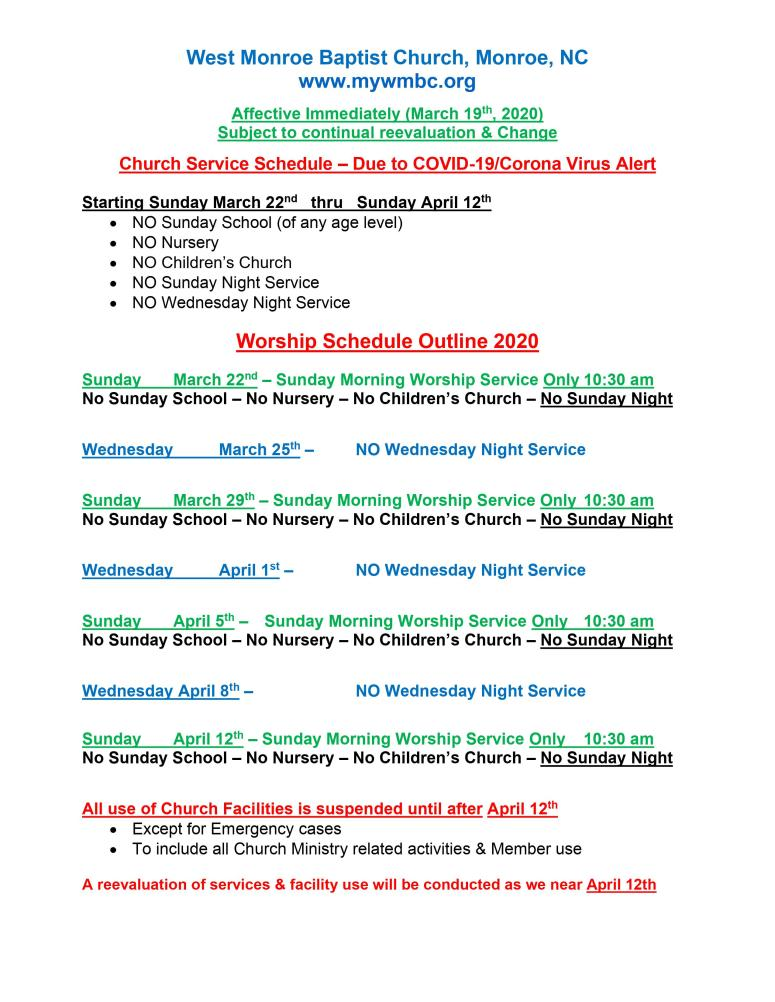 CHurch Schedule COVID 19 pic